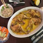 Receta Pollo al limón con arroz basmati y ensalada de pepino